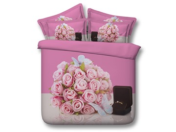 Pink Roses and Ring Printed Cotton 4-Piece 3D Bedding Sets/Duvet Covers