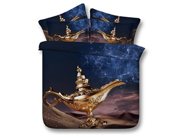 3D Genie Lamp Printed Cotton 4-Piece Bedding Sets/Duvet Covers
