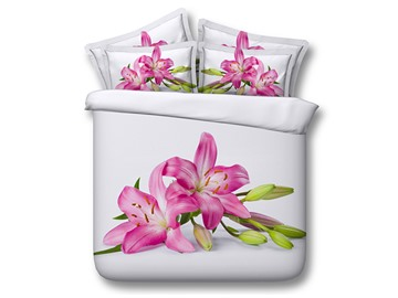 Blooming Pink Lily Printed Cotton 3D 4-Piece White Bedding Sets/Duvet Covers