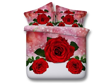 Red Roses Printed Cotton 4-Piece 3D Bedding Sets/Duvet Covers