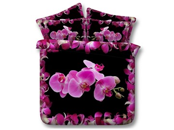 Pink Phalaenopsis Printed Cotton 3D 4-Piece Black Bedding Sets/Duvet Covers
