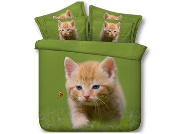 Cat and Ladybird Printed Cotton 4-Piece Green 3D Bedding Sets/Duvet Covers