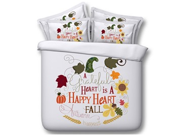 Farmhouse Happy Autumn Harvest 3D Printed 4-Piece Soft Washable Bedding Sets/Duvet Covers