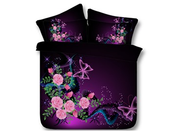 Butterflies and Pink Roses Printed Colorfast/Wear-resistant 4Pcs 3D Scenery Bedding Soft Durable Purple Duvet Cover Set with Zipper and Non-slip Ties