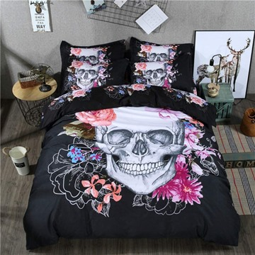 Skull and Flowers Printed Cotton 4-Piece Black 3D Halloween Bedding Sets/Duvet Covers