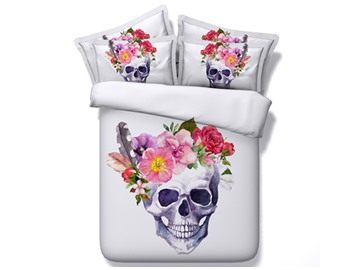 Blooming Flowers and Skull Printed Cotton 3D 4-Piece White Bedding Sets/Duvet Covers