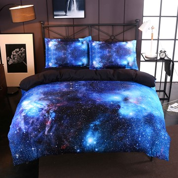 Blue Galaxy Realistic Style Print 4-Piece Bedding Sets/Duvet Covers