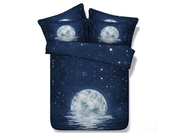 3D Moon Night and Galaxy Printed 4-Piece Bedding Sets/Duvet Covers
