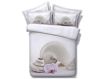 Conch Shell Printed Cotton 4-Piece White 3D Bedding Sets/Duvet Covers
