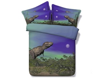 Prehistoric Dinosaur under the Moonlight Printed Cotton 4-Piece 3D Bedding Sets/Duvet Covers