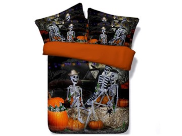 Halloween Skeletons Party Printed Cotton 4-Piece 3D Bedding Sets/Duvet Covers