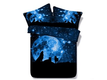 Wolf and Galaxy Printed Cotton 4-Piece 3D Blue Bedding Sets/Duvet Covers