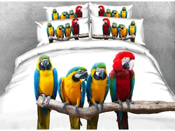 Colorful Parrots Printed Cotton 4-Piece White 3D Bedding Sets/Duvet Covers
