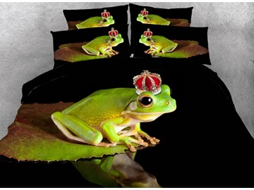 3D Frog with Crown Printed Cotton 4-Piece Bedding Sets/Duvet Covers