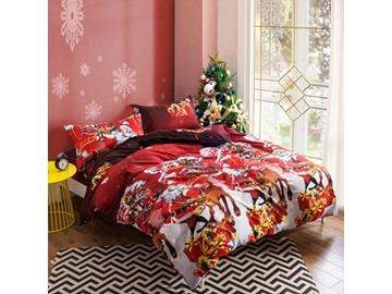 US Only Santa Claus and Reindeer Print 4-Piece Polyester Duvet Cover Sets