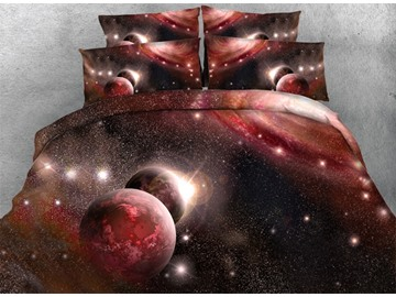 Dazzling Red Galaxy Print 4-Piece Tencel Duvet Cover Sets