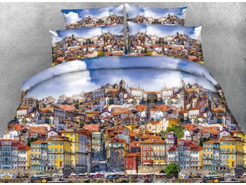 Busy Porto City Printed Cotton 4-Piece 3D Bedding Sets/Duvet Covers