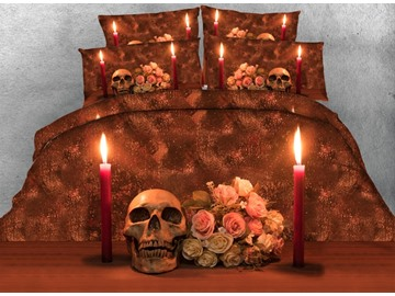 3D Skull and Candle Printed Cotton 4-Piece Bedding Sets/Duvet Covers