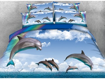 Dolphin and Rainbow Printed 4-Piece Blue 3D Bedding Sets/Duvet Covers