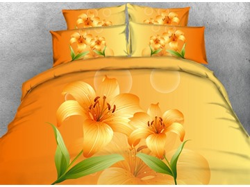 Yellow Lilies and Bubbles Printed Cotton 3D 4-Piece Bedding Sets/Duvet Covers