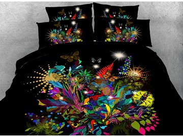 3D Stunning Floral and Butterfly Printed Cotton 4-Piece Black Bedding Sets/Duvet Covers