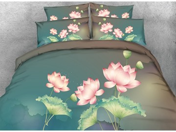 3D Pink Lotus Printed Cotton 4-Piece Blue Bedding Sets/Duvet Covers