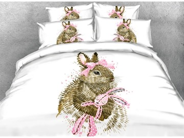 Rabbit with a Pink Bow Printed Cotton 3D 4-Piece Bedding Sets/Duvet Covers
