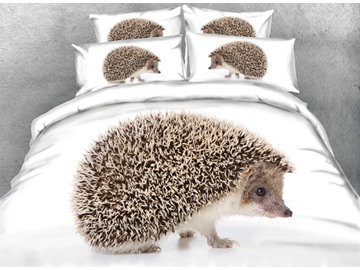 Hedgehog Printed Cotton 4-Piece White 3D Bedding Sets/Duvet Covers