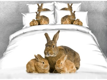 3D Rabbit Mother and Bunnies Printed Cotton 4-Piece White Bedding Sets/Duvet Covers