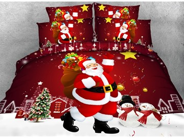 Festive Santa Claus Print Red 4-Piece Duvet Cover Sets