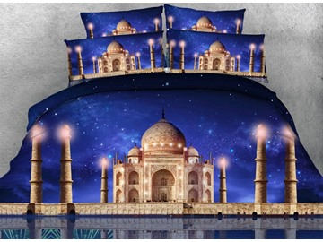 Galaxy and Castle Printed Cotton 4-Piece 3D Bedding Sets/Duvet Covers