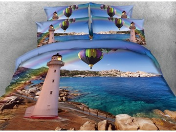 3D Lighthouse and Hot-air Balloons Printed Nautical Cotton 4-Piece Bedding Sets/Duvet Covers