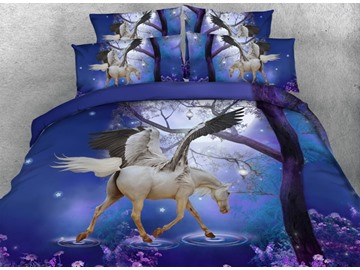 White Unicorn with Wings Printed Cotton 4-Piece Blue 3D Bedding Sets/Duvet Covers