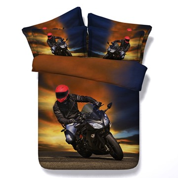 Motorcyclist Printed Cotton 4-Piece 3D Bedding Sets/Duvet Covers