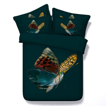 Colorful Butterfly Printed Cotton 4-Piece 3D Bedding Sets/Duvet Covers