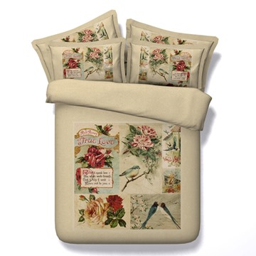 Bird and Flower Printed Vintage Style Cotton 3D 4-Piece Bedding Sets/Duvet Covers