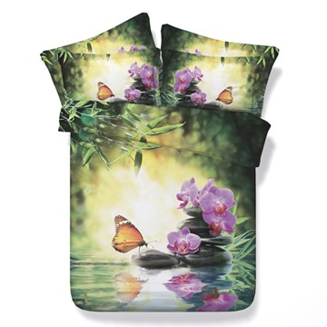 3D Butterfly and Orchid Printed Cotton 4-Piece Bedding Sets/Duvet Cover