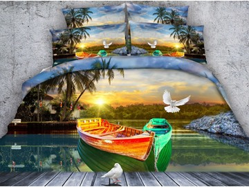 White Pigeon and Colorized Boat Printed Cotton 3D 4-Piece Bedding Sets/Duvet Covers