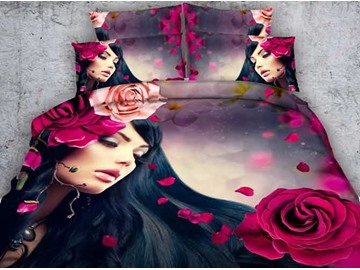 Red Rose and Girl Printed Cotton 4-Piece 3D Bedding Sets/Duvet Covers
