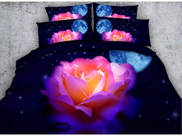 Colorful Rose with Moon Stars Printed Cotton 3D 4-Piece Bedding Sets/Duvet Covers