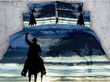 3D Cowboy on Horse Shadow Printed Cotton 4-Piece Bedding Sets/Duvet Covers
