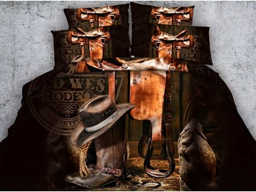 3D Cowboy Hat and Boots Printed Cotton 4-Piece Bedding Sets/Duvet Covers