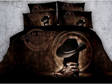 3D Cowboy Hat On Boots Printed Cotton 4-Piece Bedding Sets/Duvet Covers
