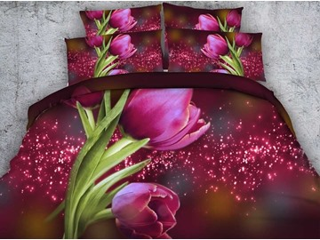 Wonderful Red Tulip Print 4-Piece Duvet Cover Sets