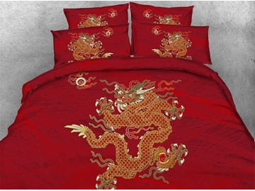 Oriental Golden Dragon Printed 4-Piece 3D Red Bedding Sets/Duvet Covers