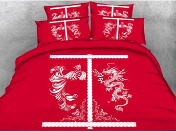3D Chinese Dragon and Phoenix Printed Cotton 4-Piece Red Bedding Sets/Duvet Covers