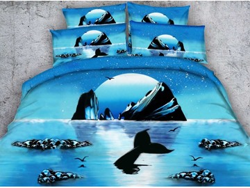 3D Rising Moon and Tail Printed Cotton 4-Piece Blue Bedding Sets/Duvet Covers