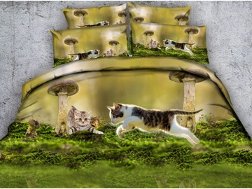 Adorable 3D Kittens and Mushroom Print 4-Piece Duvet Cover Sets