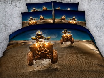 Car Racing in the Desert Printed Polyester 4-Piece 3D Bedding Sets/Duvet Covers