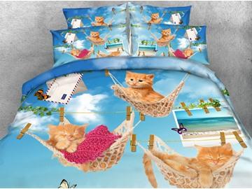Likable Kittens Lying in Hammock Print 4-Piece 3D Bedding Sets/Duvet Covers